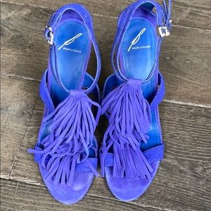 B by BRIAN ATWOOD purple suede fringe heels